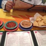 Salsas and bean dip with chips