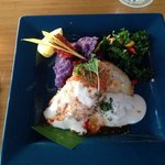 Mac Nut Crusted MahiMahi with purple potato puree. yummy!!!