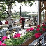 Flowers on the Pump House deck during summer.