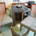 Glass writing desk with two chairs