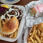Takeaway lamb and chicken kebab