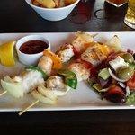 monkfish and king prawn kebab