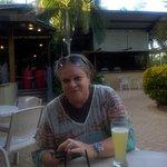Enjoying free drink at Resort