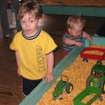 Raking up the corn is a treat for the little ones.