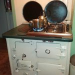 Working vintage stove in kitchen