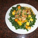Oneof our dinners--shrimp and mango kale salad