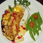 Mahi mahi with mango pineapple salsa. Seasonal special, served on Sundays