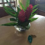 A welcoming flower arrangement in the room