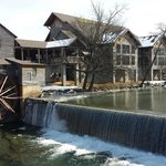 View of The Old Mill Restaurant across the Pigeon River