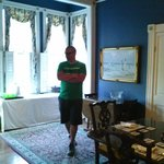 My husband in the dining room, at fairbanks house.
