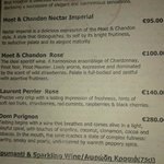 one page of the wine list - champagnes