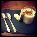 Rubarb and lemon posette, homemade shortbread and pistachio cream