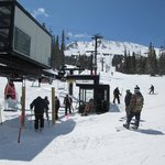 Skiers take the lift up to the new cabin half-way up the mountain