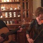 Irish musicians playing during dinner