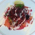 Salmon with beet salad
