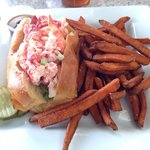 Lobster roll and sweet potato fries