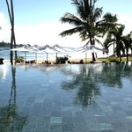 View from reception across the pool/beach