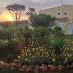 Annexe block garden at sunset