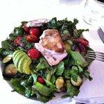 Mahi salad with olives, grape tomatoes zuccinni salad