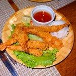 Shrimp tempura and sticky rice!