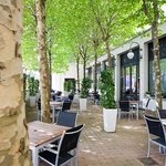 Relax on our tree-shaded Terrace