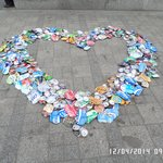 One of the many formations by the cleaning workers using discarded flattened drink cans!