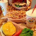 Cheeseburger, fries and BLT