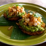 Green Plantain Tostadas with Guacamole, Grilled Shrimp, and Roasted Pumpkin Seeds