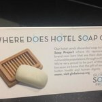 Explaining what the hotel chain does with used bars of soap,  Motel 6 Winnipeg West  |  4400 Por
