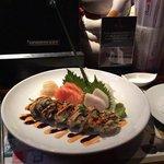 salmon sashimi, white tuna sashimi, Godzilla roll...lovely presentation!