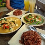 (Left) Coconut Palm Heart Red Curry with rice