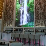 Digital water fall in the main lobby. It would be better if it can be programmed when night fall