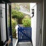Our front door, with the hill in the background