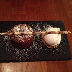 Chocolate and orange fondant with ice cream - The Cellar