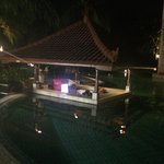 Swim up pool at night