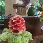 Fruit carving demonstration during breakfast
