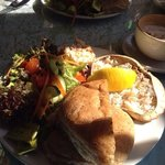 Dressed crab with salad and bap.  Delicious and substantial plate of food.