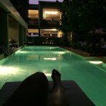 the pool side during sunset