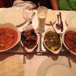 from left to right: Peshwari Chicken, Aubergine Bhaji, Saag Paneer, Madras Lamb