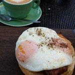Huevos bollos & a cup of cappuccino