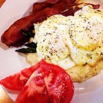 Local Asparagus on Grits with Local Fried Eggs & Bacon