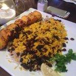 chicken kabob jasmine rice with raisins