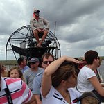 Roger perched atop the airboat