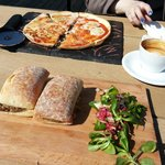6 Scottish Cheese pizza, haggis and cheese melt and a capuccino... all in the sun too!!