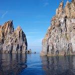 On the sea towards the island of Vulcano