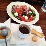 Greek salad and Greek coffee.
