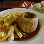 Steak & kidney pudding w/ chips and veg