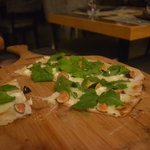 Flat bread pizza with figs and goat cheese. It was very good. I also tried the lamb chops were n