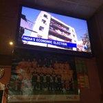 Tv in bar.