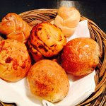 Homemade bread roll at the restaurant
